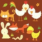 Duck,Fox,Animal Themes,Cute,Chicken - Bird,Farm,Rabbit - Animal,Rooster,Illustration Technique,Earthworm,Worm,Cockerel,Flower,Pets,Caricature,Grass,Multi Colored,Design,Smiling,Baby Animals,Vector Cartoons,Farm Animals,Domestic Animals,Isolated,Animals And Pets,Illustrations And Vector Art