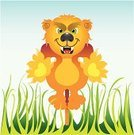 Lioness,Cub,Cats,Illustrations And Vector Art,Wild Animals,Vector Cartoons,Animals And Pets,Undomesticated Cat,Grass,Jumping,Aggression,Feline