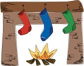 Fireplace,Stockings,Mantelpiece,Christmas,Holiday,Vector,Sock,Fire - Natural Phenomenon,Hanging,Log,Scribble,Ilustration,Defocused,Fluffy,Striped,Ink,Illustrations And Vector Art,Heat - Temperature,Brick,Mickey Mantle,Painted Image,Celebration