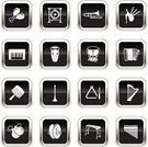 Musical Instrument,Symbol,Computer Icon,Accordion,Icon Set,Music,Bagpipe,Triangle,Harp,Vector,Xylophone,Piano,Maraca,Timpani,Bongo,Flute,Gong,Panpipe,Black Color,Sleigh Bells,Trumpet,Color Gradient,Castanets,Rin Gong,White,Ilustration,Design Element,Shiny,Sound,Illustrations And Vector Art,Cartoon