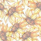 Square,No People,Art,Watercolor Painting,Watercolor Paints,Painted Image,Single Flower,Art And Craft,Backgrounds,Flower,Illustration,Seamless Pattern,Sunflower,Yellow,Pattern