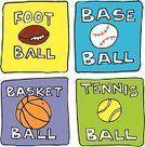 Tennis,Basketball,Sport,Cartoon,American Football - Sport,Ball,Baseballs,Computer Icon,Symbol,Square Shape,Ilustration,Square,Four Objects,Orange Color,Illustrations And Vector Art,gridiron,Vector