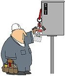 Lockout,tagout,Electricity,Breaking,Switch,Lock,Ilustration,Safety,Locking,coverall,Objects/Equipment,People,Work Tool,Hardhat,Industrial Objects/Equipment,Men,Male,Cartoon