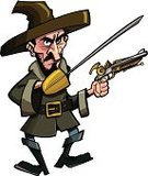 Pirate,Cartoon,Highwayman,Thief,Sea,Boat Captain,Vector,Skull and Crossbones,Hat,Yellow,Halloween,Ilustration,Rifle,Costume,Clip Art,Isolated,Weapon,Boot,swashbuckler,Mustache,Sword,Blue,Saber,Standing,Evil,Swinging,Earring,Fun,Beard,Holidays And Celebrations,swashbuckling,Jacket,Blade,Period Costume,One Person,People,buccaneer,Halloween,White Background,Traditional Clothing,Stage Costume,Threats,Concepts And Ideas,Sale,Power