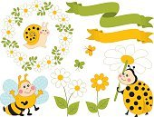Horizontal,Insect,Fun,Daisy,Vector,Leaf,Summer,Flower Head,Cute,Illustration,Bee,Ornate,Clip Art,Nature,Slug,Animal Wildlife,Ladybug,Springtime,Yellow,Blue,Multi Colored