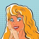 Woman Art,Square,Conspiracy,Mystery,Background,Vector,Backgrounds,Illustration,Pop Art,Blond Hair,Whispering