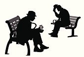Senior Adult,Park Bench,Silhouette,Men,People,Aging Process,Sitting,The Human Body,Outline,Two People,Coffee - Drink,Vector,Hat,Ilustration,Black Color,Computer Graphic,Digitally Generated Image,Outdoors,Focus on Shadow