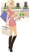 Fashion,Women,Shopping,Ilustration,Vector,Purse,Retail,Store,City Street,Cafe,Boot,Street,Town,Clip Art,Shopping Bag,Retail/Service Industry,Industry,Fashion,People,Beauty And Health