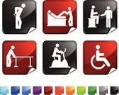 Symbol,Icon Set,Computer Icon,Medical Exam,Therapy,Recovery,Healthcare And Medicine,Backache,Pain,Chiropractor,Vector,Alternative Therapy,Wheelchair,Exercise Bike,Black Color,Shiny,Sensory Perception,Label,Square,Red,Medicine,Square Shape,Medical Test,Design,Stick Figure,Ilustration,Blue,Orange Color,Page Curl,Green Color,Folded
