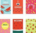 Horizontal,Color Image,No People,Holiday - Event,Season,Vector,Backgrounds,Watermelon,Summer,Invitation,Decoration,Travel,Symbol,Illustration,Inviting,Collection,Holiday,Vacations,,Blue,Colors,Pink Color