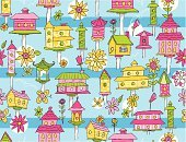 Birdhouse,Springtime,Bird,Wrapping Paper,Floral Pattern,Wallpaper Pattern,Seamless,Summer,Flower,Hole,Repetition,Petal,Outdoors,Illustrations And Vector Art,Spring,Flowers,Nature,Vector Cartoons