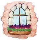Vertical,Creativity,No People,Watercolor Paints,Brick,Window,Illustration,Multi Colored