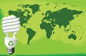 Green Color,Globe - Man Made Object,Lighting Equipment,Map,Light Bulb,Recycling,Environmental Conservation,Compact Fluorescent Lightbulb,Color Image,Environment,Clip Art,Concepts,Illustrations And Vector Art,Horizontal,Vector,Ilustration