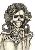 Vertical,Art,Painted Image,Human Skull,Art And Craft,Human Skeleton,Pencil Drawing,Computer Graphic,Human Hair,Decoration,Human Bone,Drawing - Art Product,Computer Graphics,Craft,Illustration,Rose - Flower,Day Of The Dead,Gemstone,Smiling,Earring,Jewelry,Necklace