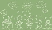 Child,Family,Blackboard,Drawing - Art Product,Child's Drawing,Doodle,Offspring,Pencil Drawing,Sketch,Home Interior,Father,Ilustration,Mother,Cartoon,Cheerful,Happiness,Line Art,Green Color,Environmental Conservation,Residential Structure,Nature,Vector,Little Girls,Smiling,Pets,Little Boys,Women,Looking At Camera,Illustrations And Vector Art,Architecture And Buildings,Sibling,Lifestyle,Vector Cartoons,Families,Homes,Image