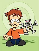 Robot,Toy,Smiling,Little Boys,Lifestyle,People,Shadow,Babies And Children,Cartoon,Male,Happiness,Cheerful