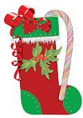 81352,Vertical,Cut Out,Celebration,Holiday - Event,Surprise,Christmas,Illustration,Christmas Decoration,Symbol,Christmas Stocking,Cultures,Decoration,Gift,Holly,Vector,Single Object,Sock,Red