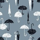 Abstract,Square,Individuality,Silhouette,Black And White,No People,Season,Weather,Open,Group Of Objects,Open,Wet,Drawing - Art Product,Rain,Illustration,Environment,Seamless Pattern,Sketch,Shape,Closed,Umbrella,Pattern,Parasol,White Color