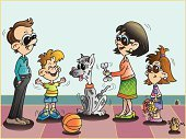 Family,Mascot,Child,Caricature,House,Offspring,Happiness,Enjoyment,Little Boys,Mother,Son,Father,Pets,Fun,Dog,Exhilaration,Love,Relationships,Brother,Home Interior,Lifestyle,Togetherness,Sibling,Sharing,Babies And Children,Unity,Families,Joy