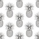 Square,No People,Vector,Backgrounds,Decoration,Illustration,Pineapple,Seamless Pattern,Black Color,Pattern,White Color