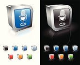 Symbol,Three-dimensional Shape,Music,Radio,Microphone,Computer Icon,Sparse,Sound,Vector,Reflection,Computer Graphic,Technology,White Background,Black Background,Blue,Modern,Empty,Digitally Generated Image,Shiny,Metal,Orange Color,Green Color,Red