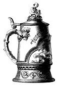 Beer - Alcohol,Beer Stein,Engraving,Engraved Image,Antique,German Culture,Old-fashioned,Ilustration,Retro Revival,Beer Glass,Victorian Style,Mug,Old,Black And White,Image Created 19th Century,Design,1940-1980 Retro-Styled Imagery,Line Art,1900s Image,Cultures,Classic,Cut Out,Obsolete,Black Color,White,Backgrounds,Fashion,White Background,Isolated,German Cuisine,No People,Food And Drink,Image,Belgian Cuisine,Swedish Cuisine,Fashion,English Cuisine,Plan,Design Element,Candid,High Contrast,Close-up,European Cuisine,American Cuisine,Polish Cuisine,Single Object,Beauty And Health,Isolated Objects,Isolated On White,Copy Space,Horizontal,Plants,Dutch Cuisine,French Cuisine,Front View,British Cuisine,Image Date,Nature