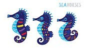 Horizontal,Abstract,Creativity,Humor,Childhood,Fantasy,Computer Graphics,Animal Wildlife,Animal,Cute,Sea,Undersea,Ornate,Collection,Illustration,Nature,Animal Family,Family,Computer Graphic,Underwater,Decoration,Sea Horse,Fun,Vector,Blue,Multi Colored