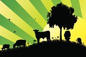 Cow,Farm,Silhouette,Cattle,Animal,Field,Grass,Vector,Bull - Animal,Dairy Cattle,Green Color,Tree,Backgrounds,Sunrise - Dawn,Animal Themes,Sun,Butterfly - Insect,Herbivorous