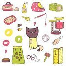 Square,No People,Pets,Kitten,Animal,Toy,Cute,Illustration,Domestic Cat