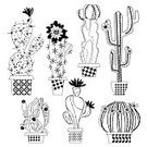 Square,Silhouette,Black And White,Latin America,Mexico,No People,Isolated,Sharp,Ornamental Garden,Lifestyles,Cactus,Vector,Leaf,Plant,Uncultivated,Flower,Succulent Plant,Botany,Gardening,Spiked,Thorn,Illustration,Nature,Desert,Flower Pot,Cartoon