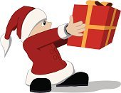 Santa Claus,Gift,Holding,Christmas,Giving,Characters,Holidays And Celebrations,Christmas,Small,Standing,Real People,Cute