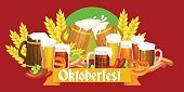 Panoramic,Horizontal,Bavaria,Germany,No People,Beer Tap,Beer - Alcohol,Music Festival,Illustration,Oktoberfest,Traditional Festival,German Culture