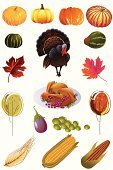 Thanksgiving,Turkey - Bird,Symbol,Wheat,Corn,Icon Set,Meat,Harvest Festival,Maple Leaf,Ilustration,Roasted,Clip Art,Pumpkin,Sweetcorn,Autumn,Group of Objects,Season,Vegetable,Grape,Whole Wheat,Vector,Vector Icons,Tree,Design Element,Thanksgiving,Illustrations And Vector Art,Nature,Holidays And Celebrations,Fall