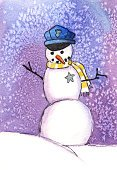 Police Force,Christmas,Officer,Snowman,Watercolor Painting,Frozen,Winter,Cheerful,Smiling,Humor,Snowing,Ilustration,Nature,Outdoors,Winter,Uniform,Holidays And Celebrations,Christmas,Snow,Front View,Vertical,Full Length