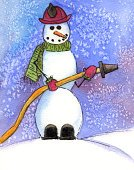 Firefighter,Christmas,Snowman,Snow,Winter,Holiday,Watercolor Painting,Fire Hose,Snowing,Firefighter's Helmet,Scarf,Front View,Winter,Nature,Occupation,Ilustration,Vertical,Holidays And Celebrations,Outdoors,Christmas,Smiling,Copy Space,Humor,Frozen,Cold - Termperature