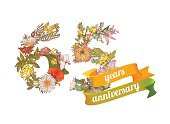 65-69 Years,Horizontal,Celebration,Anniversary,Sign,Number 65,Illustration