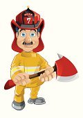 Firefighter,Cartoon,People,Characters,Men,Occupation,Vector,Safety,Axe,Work Helmet,Cheerful,Humor,Cute,Uniform,Male,Drawing - Art Product,Ilustration,Coat,Jacket,Fun,Computer Graphic,Smiling,Motivation,Aspirations,Sports Helmet,Sharp,Stage Costume,Illustrations And Vector Art,People