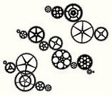 Gear,Clockworks,Interlocked,Vector,Circle,White,Set,Black Color,Silhouette,Black And White,No People,Machine Teeth,Objects/Equipment,Illustrations And Vector Art,Small Group of Objects,Design Element,Isolated On White