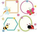 Ladybug,Cute,Butterfly - Insect,Insect,Bee,Dragonfly,Flower,Label,Banner,Illustration Technique,Outline,Design,Hexagon,Circle,Placard,Multi Colored,Shape,Caricature,Ellipse,Square,Square Shape,Contour Drawing,Illustrations And Vector Art,Insects,Flying,Vector Cartoons,Animals And Pets