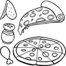 Pizza,Chicken Wing,Slice,Vector,Black Color,Symbol,White,Italian Cuisine,Cartoon,Ilustration,Food,Chicken Leg,Computer Graphic,Drawing - Art Product,Set,Parmesan Cheese,Isolated On White,Illustrations And Vector Art,Isolated,Vector Cartoons,Single Object,Pepperoni,Design,Design Element