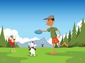 Park - Man Made Space,Outdoors,Dog,Family,Plastic Disc,Cartoon,Disc Golf,Backgrounds,Tree,Relaxation Exercise,Vector,Mountain,Ilustration,National Park,Teenager,Throwing,Teenage Boys,Mountain Range,Grass,Father,Male,Freedom,Leisure Activity