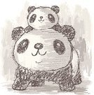 Panda,Bear,Mother,Animal,Child,Family,Parent,China - East Asia,Drawing - Art Product,Asia,Ilustration,Hand-drawn,Characters,Pencil Drawing,Giant Panda,Wild Animals,Animals And Pets,Wildlife