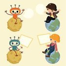 Alien,Planet - Space,People,Earth,Sitting,Friendship,Men,Communication,Togetherness,Global Communications,Ilustration,Moon Surface,Sign,Community,Antenna - Aerial,World Map,Connection,Vector,Characters,Message,Singing,Communication,Vector Cartoons,Illustrations And Vector Art,Concepts And Ideas,Speech Bubble,Variation
