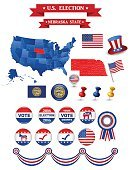 Election 2016,Vertical,USA,Nebraska,State,Flag,Map,Label,Backgrounds,Placard,Politics,Voting,President,Patriotism,Election,Illustration,Presidential Election,Government,Voting Ballot,US Republican Party,Banner - Sign,Democratic Party - USA,Elect,Nomination,Presidential Candidate,Background,Politics and Government,Candidate,Banner,Democracy,Badge,Campaign Button