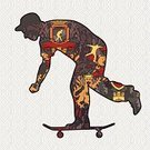 Pattern,Skateboarding,Skateboard,Roller Skating,Silhouette,Seamless,Male,Teenager,Insignia,Young Adult,Illustrations And Vector Art,Vector Backgrounds,Decoration,Lifestyles,Vector,People