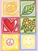 Symbols Of Peace,Hippie,Love,Peace Symbol,Smiley Face,Symbol,Smiling,Flower,Heart Shape,Sketch,Single Flower,Happiness,Cool,Vector,Leaf,Box - Container,Concepts And Ideas,Illustrations And Vector Art,Drawing - Art Product,Nature,Modern,Ilustration,Environment,Nature