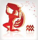 Aquarius,Astrology Sign,Constellation,Fortune Telling,Men,The Human Body,Sign,Pouring,Water,Ilustration,Vector,Symbol,Muscular Build,Astronomy,Silhouette,Three-dimensional Shape,Illustrations And Vector Art,Vector Icons,Concepts And Ideas,Star Shape,Red,Reflection
