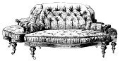 Sofa,Victorian Style,Old-fashioned,Baroque Style,Furniture,Retro Revival,Victorian Architecture,Antique,Engraving,Ilustration,Pattern,Engraved Image,Classic,Cut Out,Front View,Clip Art,Line Art,Single Object,Old,Black And White,Leg,Image,No People,Close-up,Isolated Objects,High Contrast,Design,Still Life,Sitting,Ornate,White Background,Decoration,Studio Shot,Part Of,Image Created 19th Century,Decorating,Isolated On White,Horizontal,Illustrations And Vector Art,Design Element