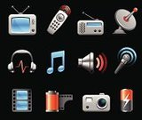 Symbol,Computer Icon,Sound,Television Set,Remote Control,Music,Audio Equipment,Headphones,The Media,Cable TV,Microphone,Information Medium,Speaker,Electronics Industry,Satellite Dish,Electrical Equipment,Battery,Musical Note,Television Aerial,Radio Wave,Surround Sound,Ilustration,Antenna - Aerial,Shadow,Wave Pattern,Technology,Communications Technology,Electronics,Camera Film,Isolated On White,Receiver,Computer Speaker,Vector,Photography Themes