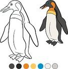 Vertical,No People,Animal,Cute,Cartoon,Illustration,Penguin,Outline,Bird,Vector,White Color,Black Color